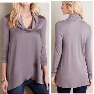 Anthropologie deletta satin ribbed cowl neck top